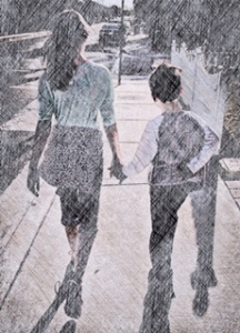 My kids, walking down the street, holding hands.