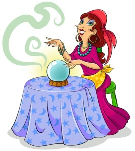 16511446 - cartoon fortune teller with her crystal ball